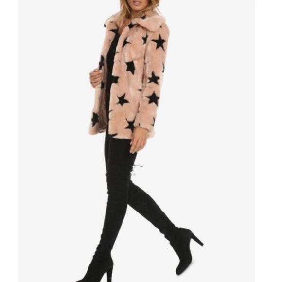 9dc9a65e8bfa AVEC LES FILLES Jackets & Coats | Faux Fur Coat Pink With Stars ...